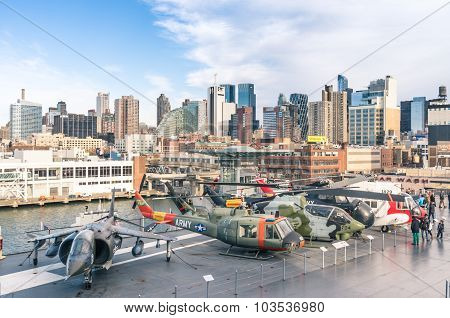 New York City - November 23, 2013: Military Jets And Helicopters In The Navy Ship Uss Intrepid