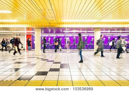 Tokyo - March 2, 2015: Corridor At Underground Area In Shinjuku. Combined Subway Network