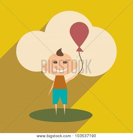 Flat with shadow icon and mobile application Child with balloon