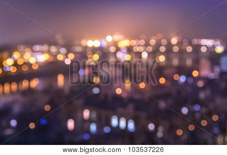 Defocused Bokeh Of Prague And Vltava River From Letna Hill - Romantic View After Misty Sunset