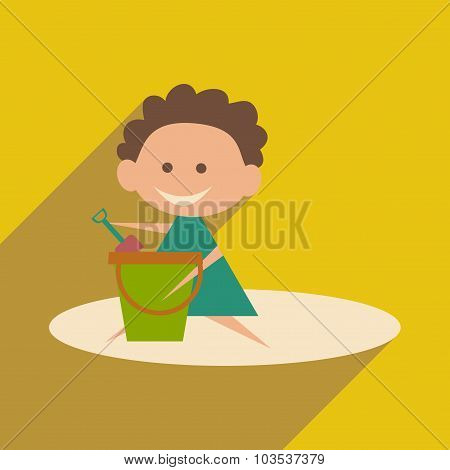 Flat with shadow icon and mobile application girl sandbox