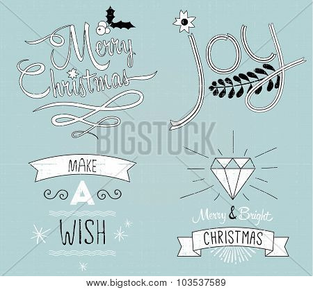 Collection of Christmas decor and typography: Merry Christmas, J