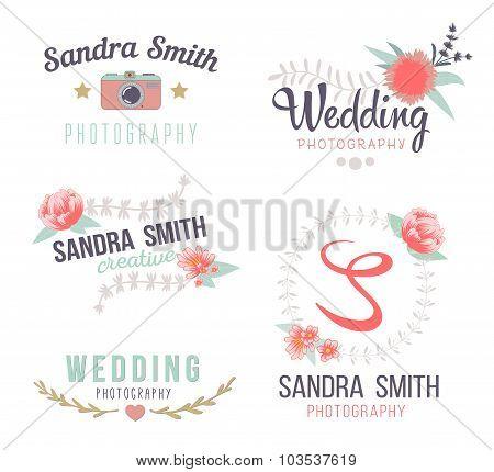 Set of retro photo logos.