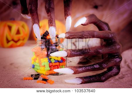 Halloween Witch Hands And Sweets