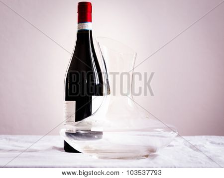 Bottle Of Wine And Decanter