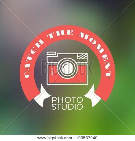 Photography Logo Design Template. Retro Vector Badge. Catch The Moment