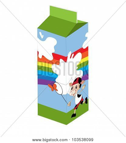 Milk Packaging With Cow, Rainbow And Butterfly