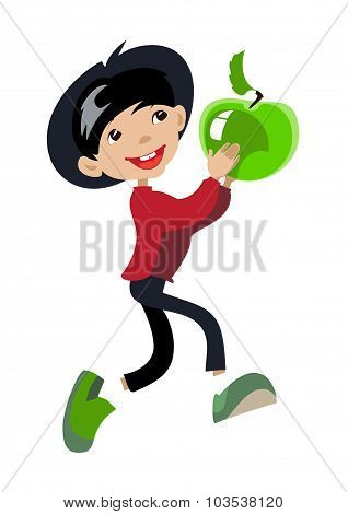 Cartoon Teenager Boy With Green Apple