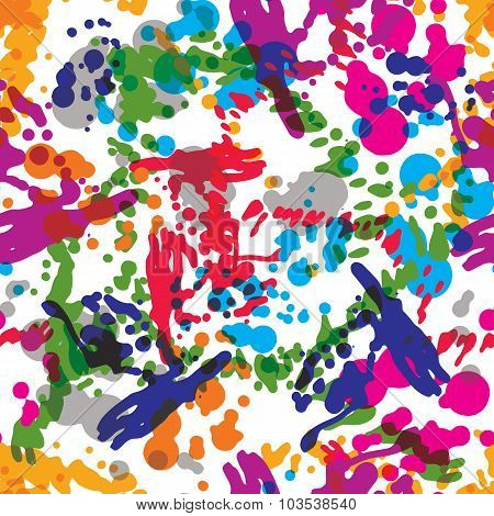 Colorful Splattered Web Design Repeat Pattern, Art Ink Blob, Daub Paintbrush Drawing. Bright