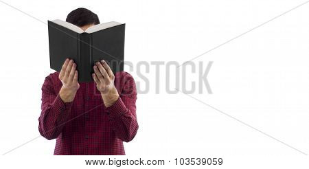 Man holding open book isolated on white