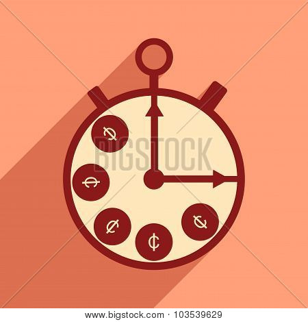 Flat with shadow icon Stopwatch and coins