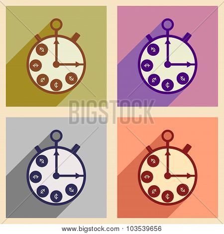 Flat with shadow concept icon Stopwatch and coins