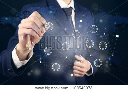 Human hand with social network structure