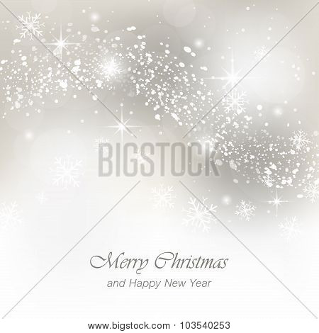 Christmas and Happy New Year greeting card with snowfall flakes and glow.
