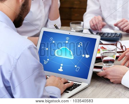Man working with  cloud computing diagram, modern technology concept