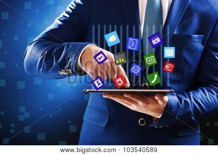 Businessman working with new modern tablet-pc