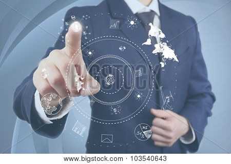 Businessman hand pushing business graph.  Futuristic button