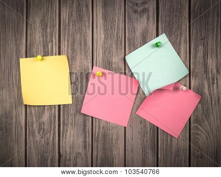 Note Papers On Wooden Background