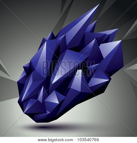 Vector Digital 3D Abstraction, Geometric Polygonal Element. Spatial Technological Colorful Shape Per