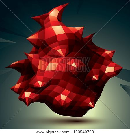 Vector Complicated 3D Figure, Red Modern Digital Technology Style Form. Abstract Background.