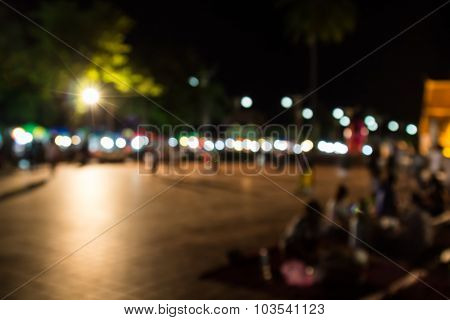 Abstract Blur Background Of People Shopping At Market Fair And Have Dinner In The Fair