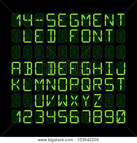 Fourteen segment LED display letters and numerals. Vector.