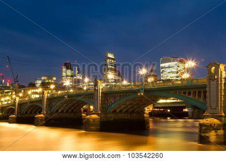 Blue Hour At The Southwark Bridge