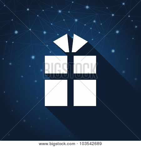 Present, Gift. New Year And Christmas Icon In Flat Style On Abstract Background