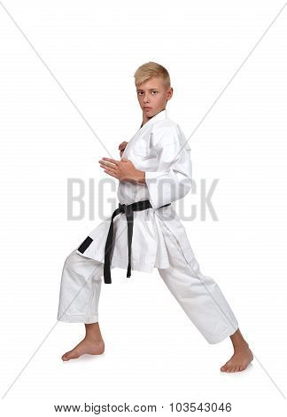 Karate Boy In Kimono Fighting