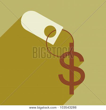 Flat design modern vector illustration icon Keychain dollar