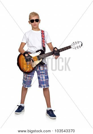 Young Rocker Boy With Guitar