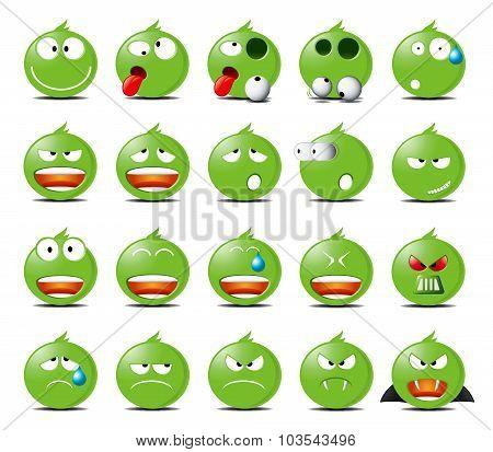 Set Of Green Emoticons