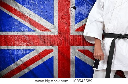 Boy In Kimono And United Kingdom Flag