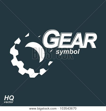 High Quality Graphic Gear Symbol, Manufacturing Process Sign. Cog wheel Symbol, Industry
