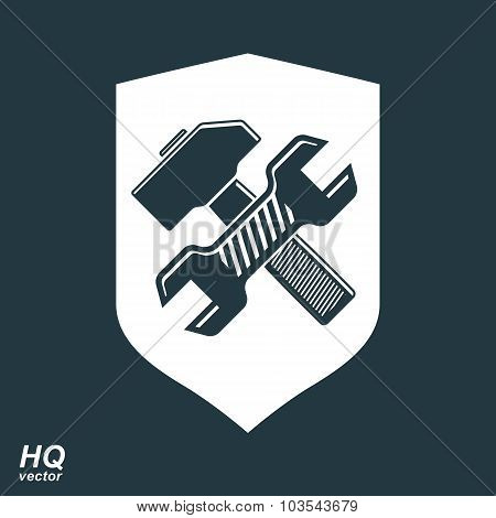 Repair Conceptual Vector Icon, Heraldic Workshop And Technical Service Symbol. Hammer And Wrench