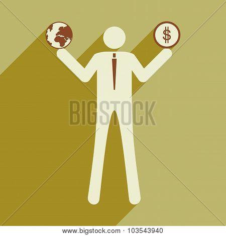 Flat design modern vector illustration icon businessman globe money
