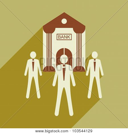 Flat design modern vector illustration icon Bank and employees