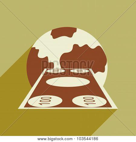 Flat design modern vector illustration icon Money and the globe