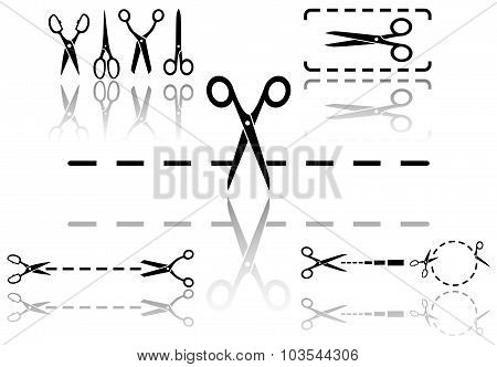 scissors and dotted line set with reflection