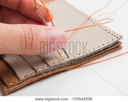 Hand Made Genuine Leather Wallet Close Up