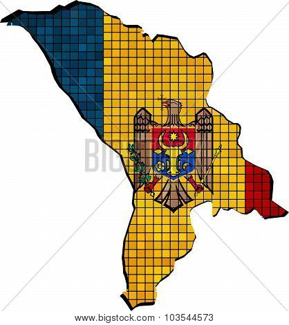 Moldova Map With Flag Inside