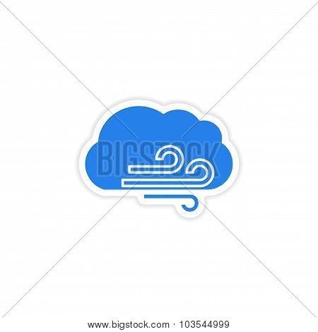 icon sticker realistic design on paper cloud wind