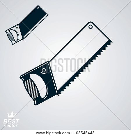Stylized Metal Saw With Sharp Teeth, vector Illustration. Realistic Razor-sharp Hacksaw.