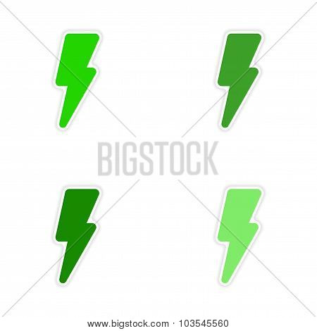 assembly realistic sticker design on paper lightning bolt icon