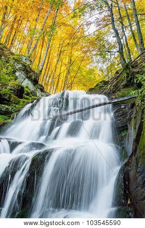 Beautiful Waterfall With White Jets