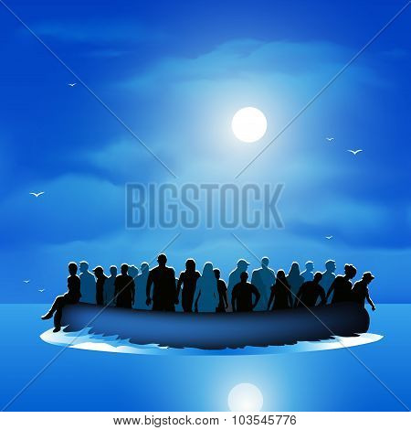 Refugees On Pontoon Boat