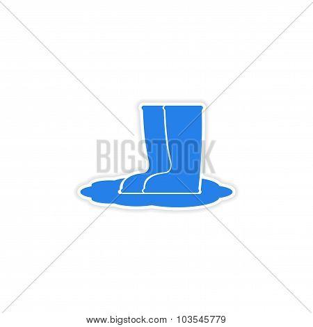 icon sticker realistic design on paper rubber boots