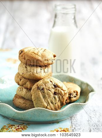 Homemade Peanut Butter Cookies With Chocolate Chips