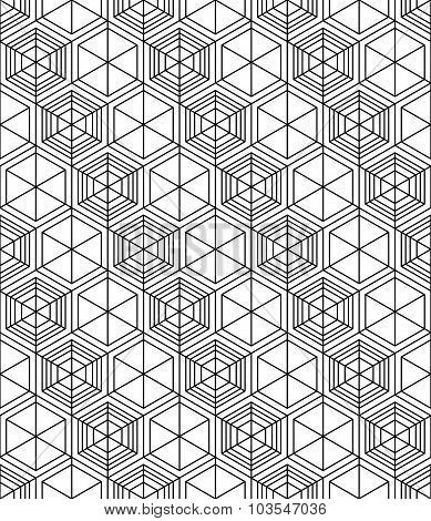 Futuristic Illusive Abstract Geometric Seamless Pattern With Cubes. Vector Stylized Texture.