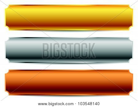 Gold, Silver, Bronze Bars, Banners. Editable Vector.
